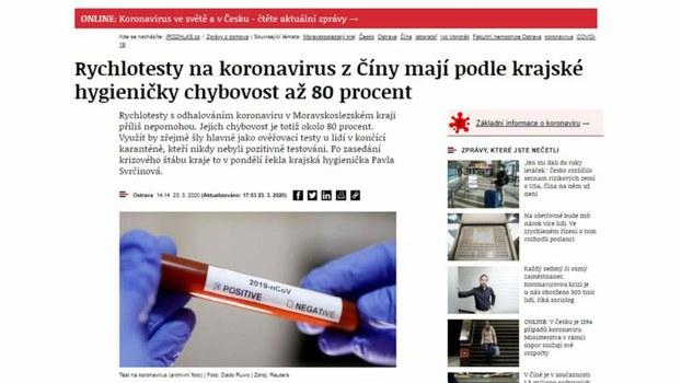 捷克共和国新闻网站(https://www.irozhlas.cz/ )周一披露,中国3月份卖给捷克共和国的一批新冠肺炎快速测试盒80%是伪劣产品。(截图)