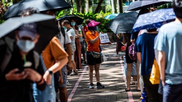 2020年7月12日,香港立法会民主派议员举行了初选,总共有58万多人参与了投票。(AFP)