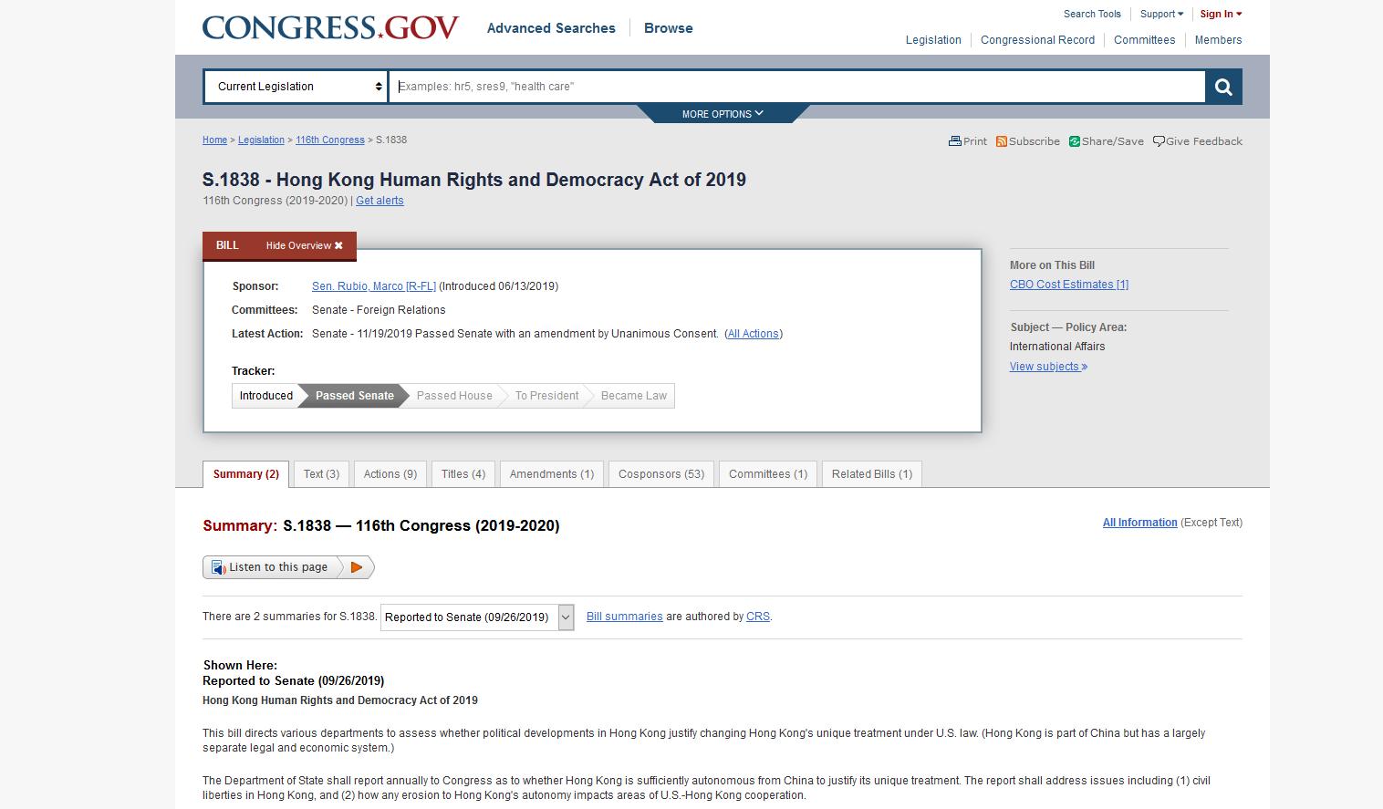 美国联邦众议院2019年11月20日下午就联邦参议院19日刚刚通过的《香港人权及民主法案》(S. 1838)表决,以417票同意、1票反对的压倒性多数,通过参院版本的法案。(美国国会网站截图)