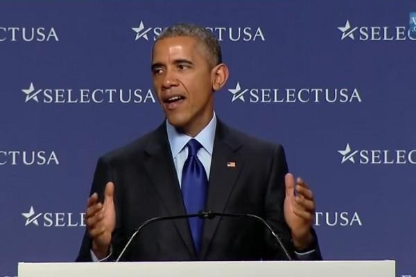 """美国总统奥巴马在2015年""""选择美国""""投资峰会(SelectUSA Investment Summit)上发表演讲。(YouTube视频截图)"""