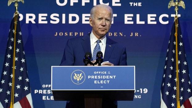 拜登于2020年11月9日发表讲话的资料图片。(美联社)
