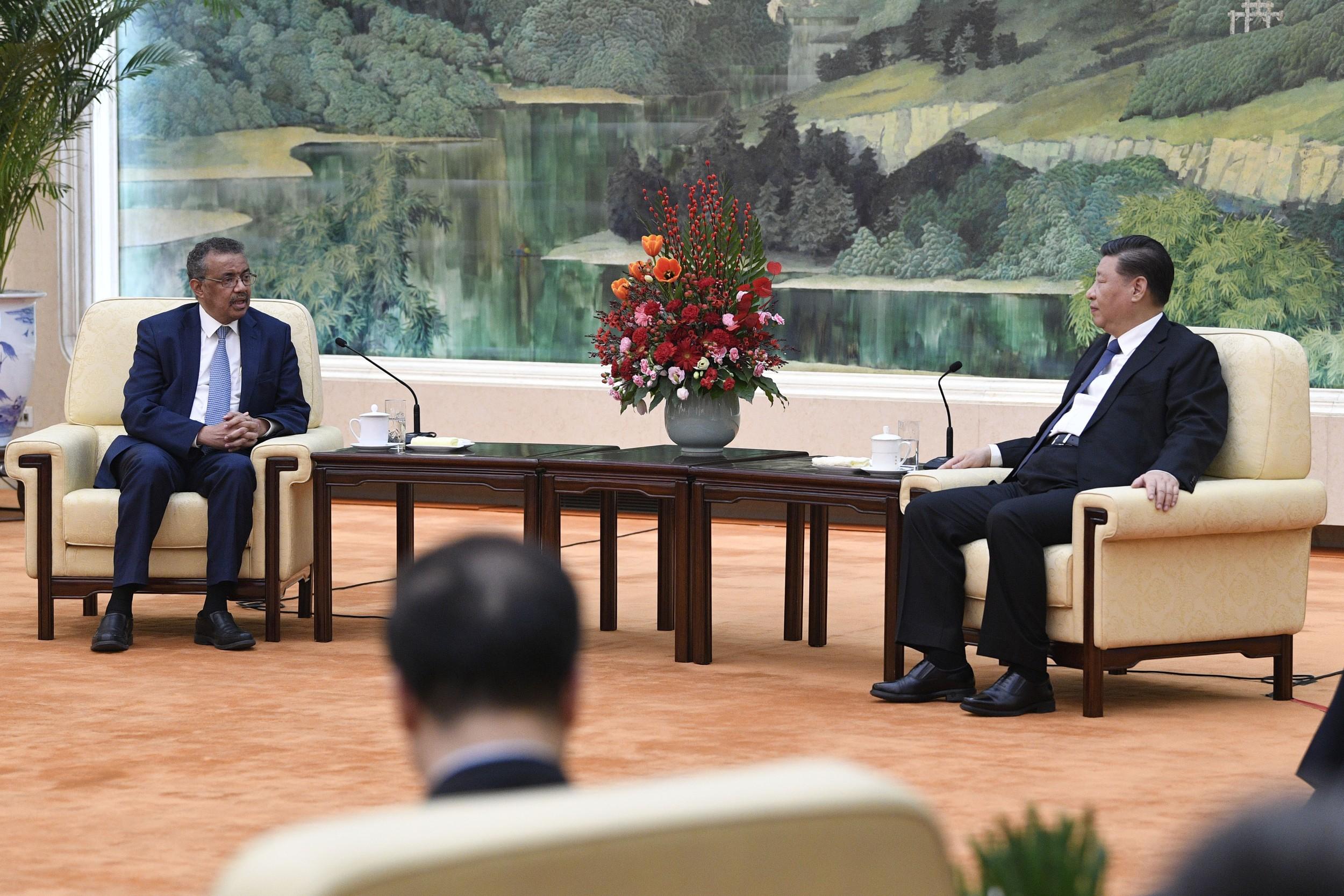 2020年1月28日,中国国家主席习近平和世卫组织总干事谭德塞(左)在北京会面。(美联社)