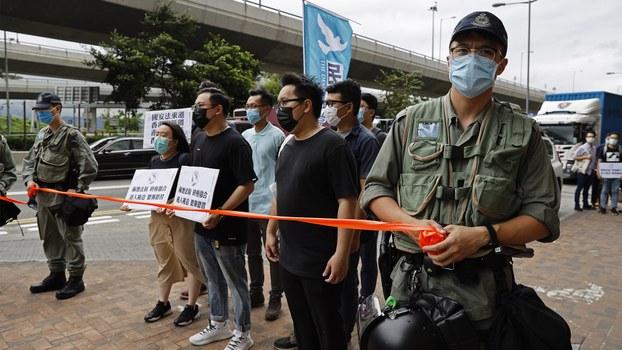 2020年5月22日,香港民众在抗议新的国安法。(美联社)