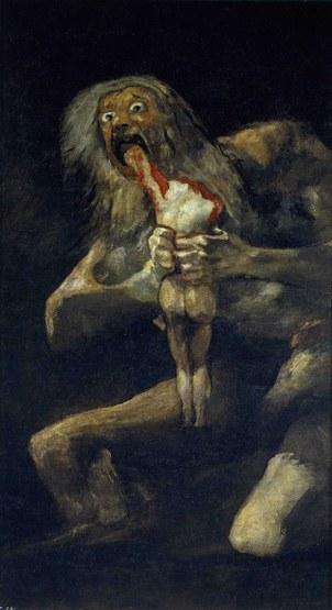 图说:戈雅名画《农神吞噬其子》(Francisco Goya,Saturn Devouring His Son 1819-1823)。(维基百科)
