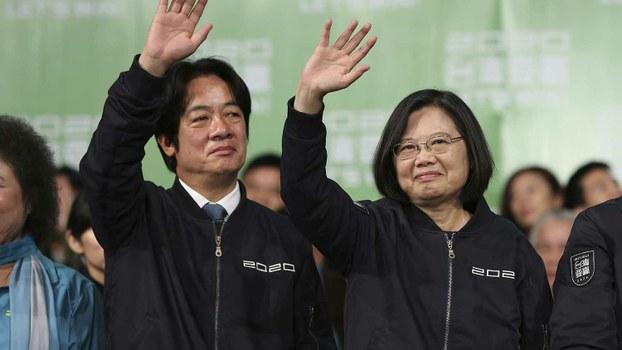 台湾总统选举候选人蔡英文(右)和副总统候选人赖清德。(美联社)