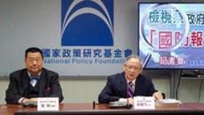 前国民党立委林郁方解析台湾国防白皮书,国防政策该了解如何不战而屈人之兵。(记者 黄春梅拍摄)