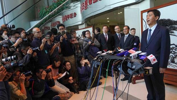 2020年1月6日,香港中联办新主任骆惠宁在媒体会上发表讲话。(美联社)