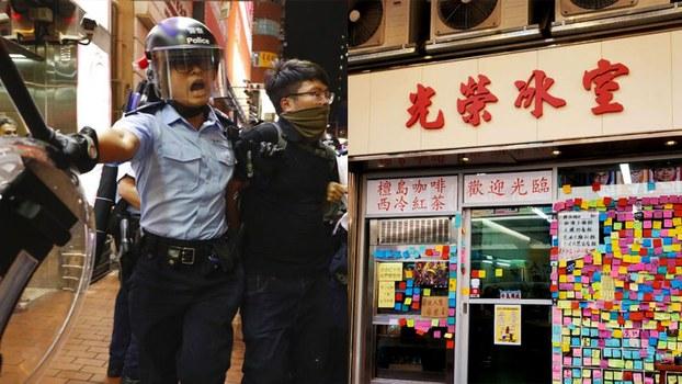 """去年六月,香港爆发了历来最大规模的反送中运动,从反对修例把政治犯""""送中"""",发展到全面反抗中共极权,持续不断的冲突,蔓延到了平民百姓层面,中港人民之间的关係进一步撕裂。而随之而来的一场由中国源起的疫情,更让矛盾再次激化,支持抗争的黄店拒绝招待中国内地客人的现象,让""""歧视""""和""""港人自救""""之说,陷入了无止境的辩论。(组合图片:AP/脸书)"""