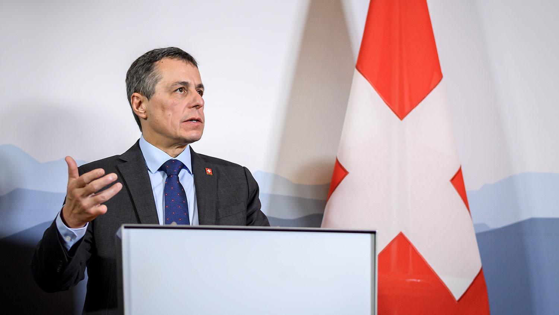瑞士外长卡西斯(Ignazio Cassis)8月初曾罕见表态,称中国已背离改革之路且严重侵犯人权,瑞士必须藉由强化国际法及多边体系等方式,更加坚定地捍卫自身利益与价值观。(法新社)