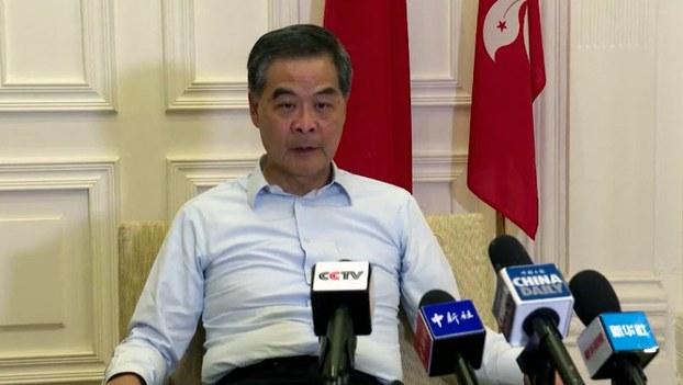 2019年8月14日,中国全国政协副主席,香港前行政长官梁振英接受媒体采访。(视频截图/路透社)