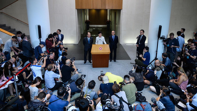 2019年9月5日,香港行政长官林郑月娥召开记者会。(法新社)