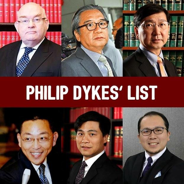 资深大律师戴启思(图上左一)与5名重量级法律界人士合组名单,角逐香港大律师公会改选。(戴启思竞选团队脸书)