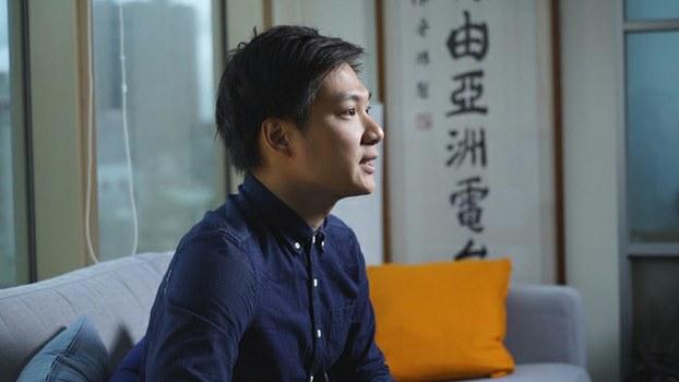 香港港独领袖陈家驹接受本台专访。(记者 李宗翰摄)