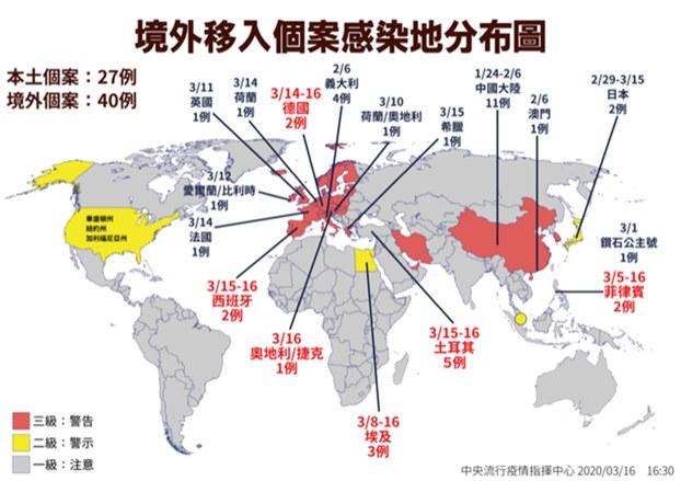 台湾境外移入个案感染分布图。(疾管署提供)