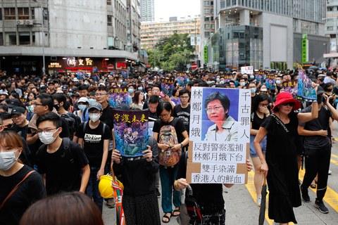 2019年8月3日,香港反送中大游行。(美联社)