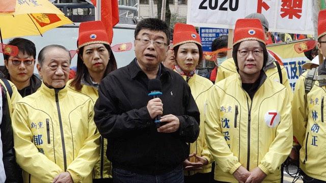新党立委候选人邱毅称,《反渗透法》成为蔡英文的巫婆棒。(记者 陈明忠摄)
