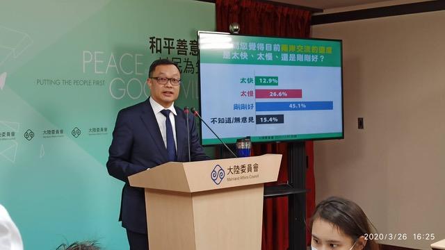 """陆委会副主委陈明祺澄清""""类包机""""非经两岸协商。(陆委会提供)"""