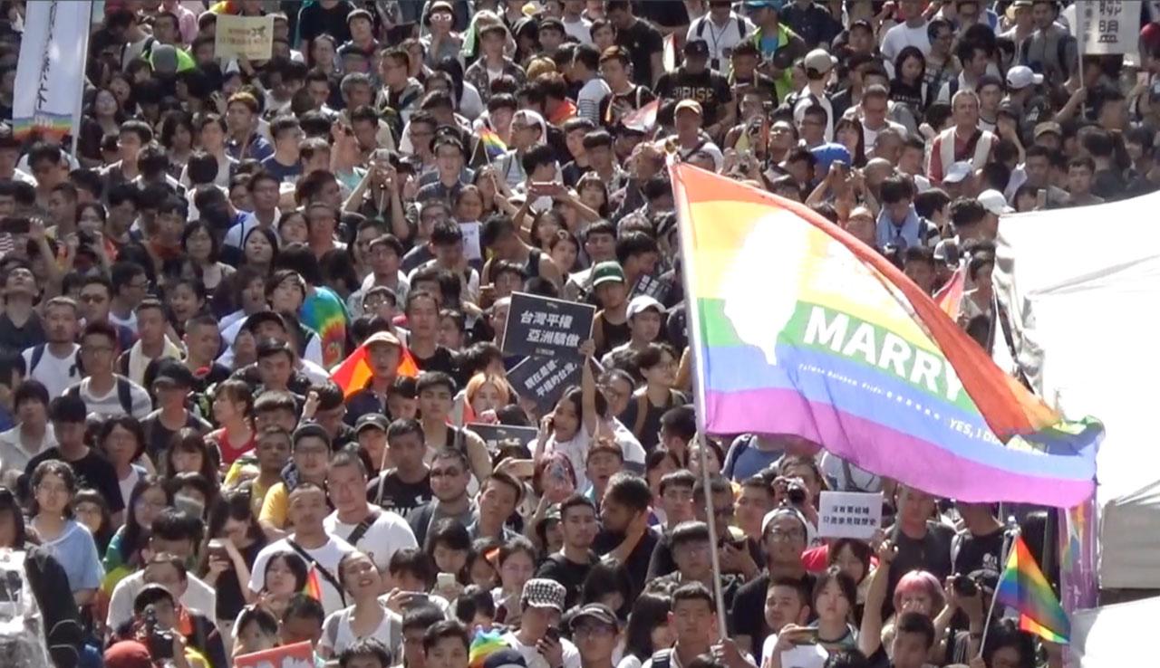 台湾通过《同性婚姻专法》 亚洲第一。(记者夏小华摄)
