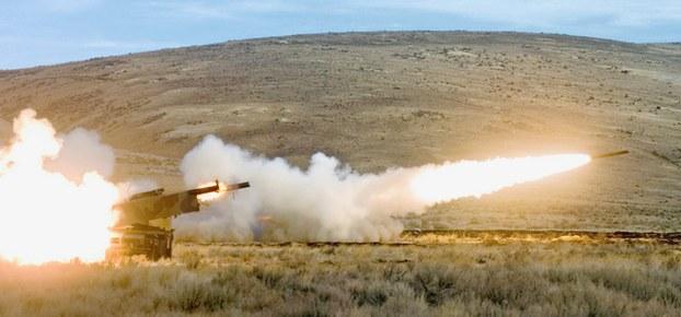 M142海马斯多管火箭系统(HIMARS)。(AP)