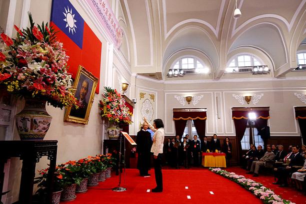 2016年蔡英文在总统府宣誓就职。(总统府提供)