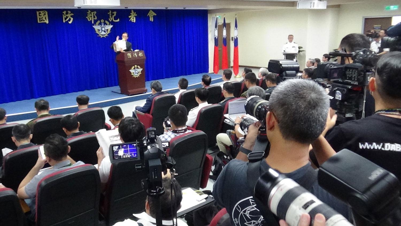 台湾2019国防报告书发布会。(记者夏小华摄)