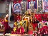 2019年藏传佛教格鲁派祈愿大法会2号在台北登场,三位格鲁派仁波切同台祈福、讲经、辩经。(记者夏小华摄)