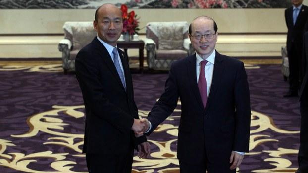 韩国瑜日前赴陆会国台办主任刘结一。(高雄市政府提供)