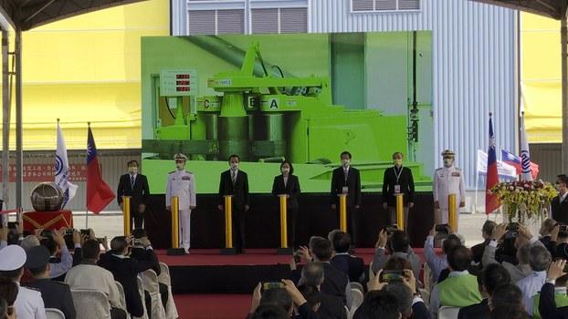 蔡英文11月24日在高雄主持台湾潜舰国造动工典礼。(记者李宗翰摄)