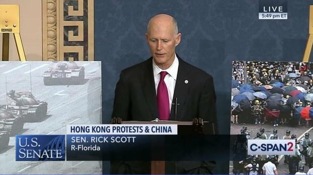 资料图片:2019年11月19日,在美国参议院无异议通过《香港人权与民主法案》之际,联邦参议员斯科特(Rick Scott)在发言时强调,美国不可再沉默,因为今天是香港,明天可能便是台湾! 他忧心提出,香港会是下一个天安门吗?(视频截图)