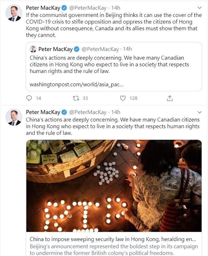加拿大参众议员多人均在社交媒体上发声挺香港民主 (众议员麦凯推特)