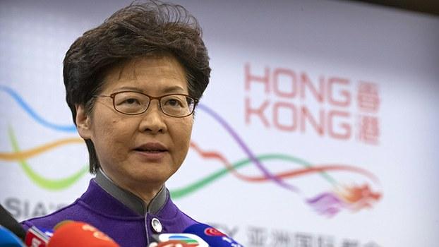2019年11月6日,香港特首林郑月娥出席在北京举行的记者会。(美联社)