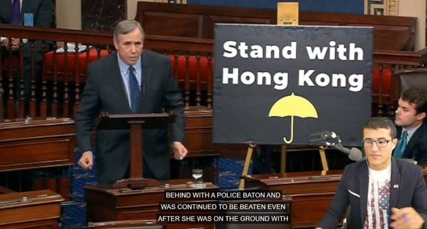 2019年11月19日,美国参议院无异议通过《香港人权与民主法案》,联邦参议员默克里(Jeff Merkley)就此发表演说。(推特图片/Josh Hawley@HawleyMO)