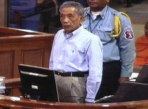 图片:联合国战争法庭星期一宣判涉及战争罪行的柬埔寨前红高棉监狱长杜赫35年徒刑。(视频截图/RFA)