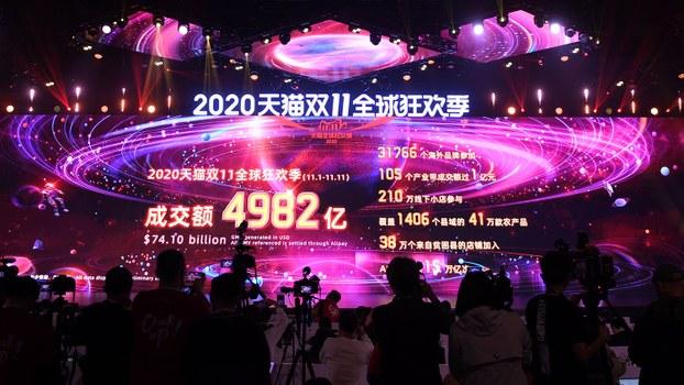 2020年中国双十一购物节结束时屏幕显示的天猫销售总额(法新社)