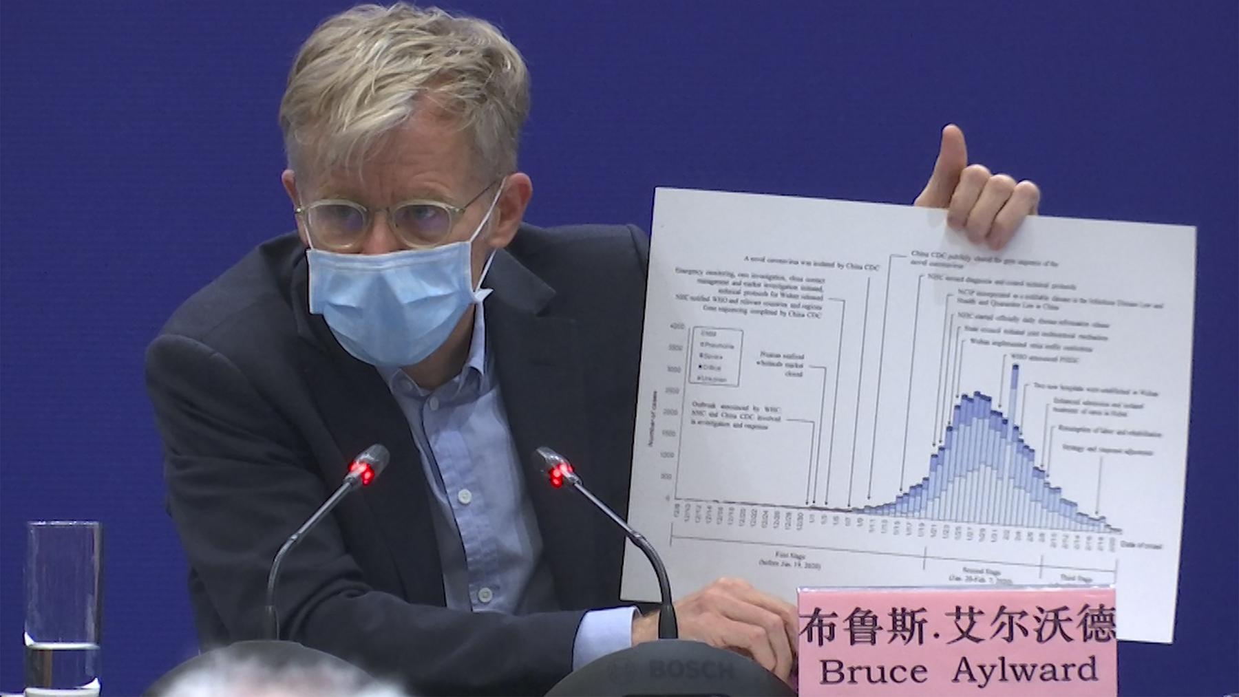 世界卫生组织关于布鲁斯艾尔沃德在北京出席记者会。(美联社)