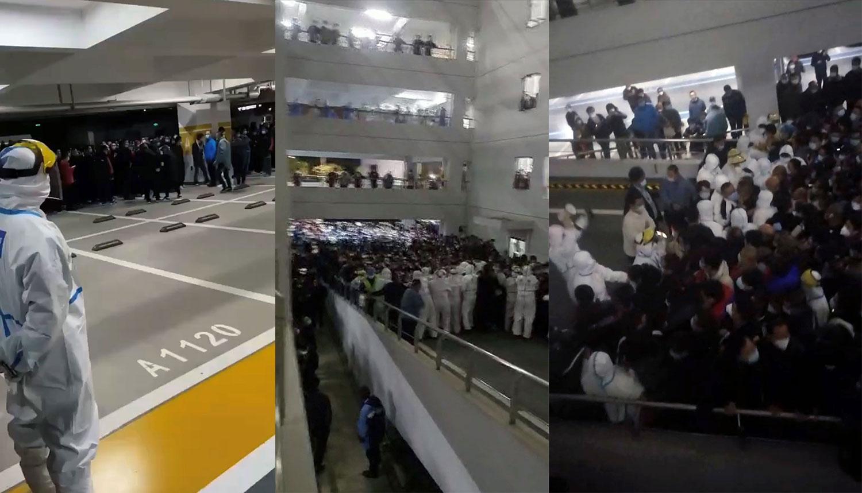 上海浦东机场数千抵达旅客,有健康码也须检测。数以千机旅客吵嚷者,机场工作人员难以应付。在等候区内,有人体力不支而晕倒。(视频截图)