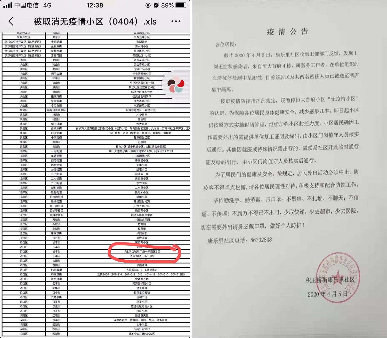 左图:武汉市疫情防控统计表中,仅一页纸就有八十多个小区出现疫情。右图:4月5日,武汉市武昌区积玉桥街康乐里社区疫情通报(无症状感染者)。(志愿者提供/记者乔龙)