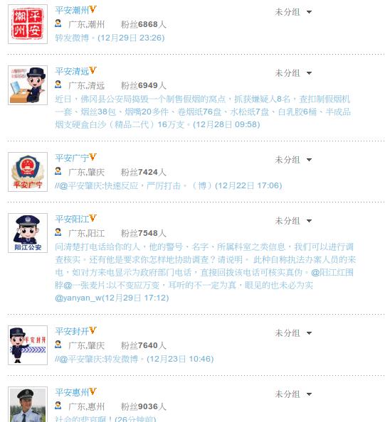 """图片:各地警方纷纷效仿""""平安北京""""建立自己的微博帐号试图加强网络宣传  (心语屏幕截图)"""