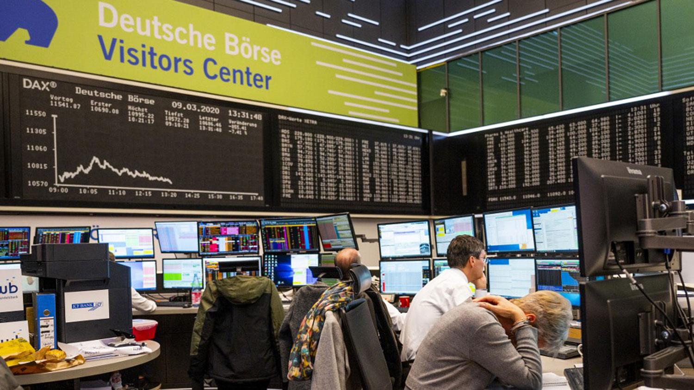 2020年3月9日,德国法兰克福证券交易所。(法新社)