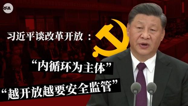 习近平一边宣示改革开放决心 一边强调今后以内循环为主体 (自由亚洲电台制图)