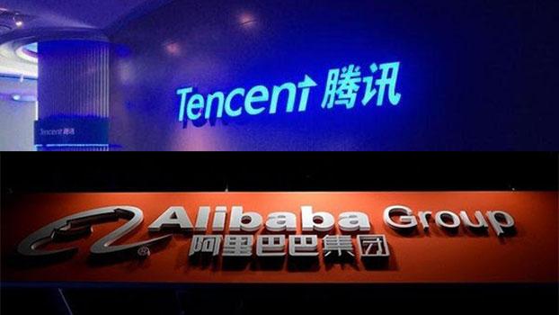 中国两大互联网电商腾讯和阿里巴巴。(组合图片/法新社)