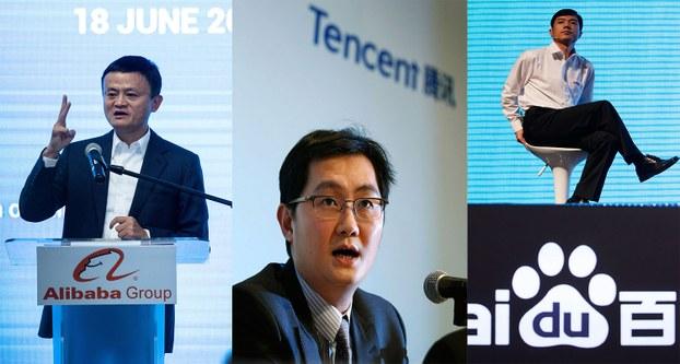 组合图片左起:阿里巴巴创始人马云,腾讯创始人马化腾,百度创始人李彦宏。(图源:AFP/AP)