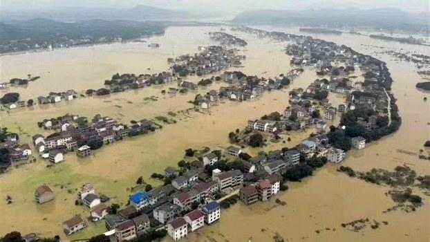 遭受洪灾的湖南衡东地区(推特图片/乔龙提供)
