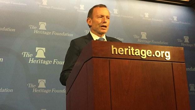 澳大利亚前总理托尼·阿博特于1月21日在美国智库传统基金会发表演讲,谈及美国总统特朗普的政策走向以及澳大利亚在印太战略的位置。(薛小山提供)