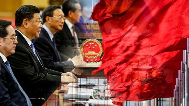 组合图片:中国领导人习近平等与北京人民大会堂(美联社/路透社)
