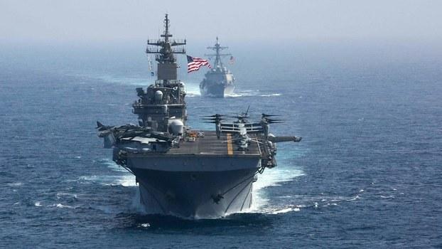 2019年8月28日,美国军舰进入南中国海。(美联社)