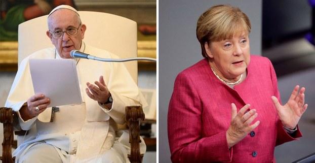 左图:教宗方济各。右图:2020年9月30日,德国总理默克尔在对国会联邦议院的演说中,罕见地严厉批评中国以恶劣而残酷的方式对待少数民族。(组合图片/AFP/REUTERS)