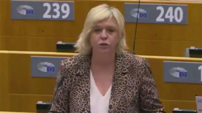 报告人比利时自由党议员沃特曼斯(Hilde Vautmans)。(视频截图/Hilde Vautmans@hildevautmans)