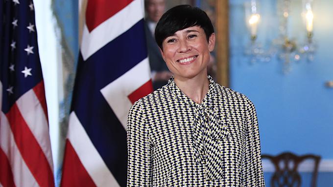 挪威外交大臣瑟雷德(Ine Eriksen Søreide)在研讨会上表示,中国在世界舞台上扮演重要角色,但不代表中国可以不遵守国际守则。(美联社)