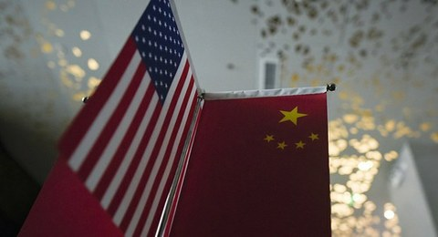 中美国旗。(法新社)